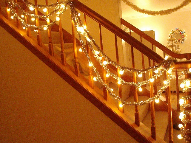 String Lights For Mantelpiece : Silver Tinsel Lighted Garland Making it merry Pinterest