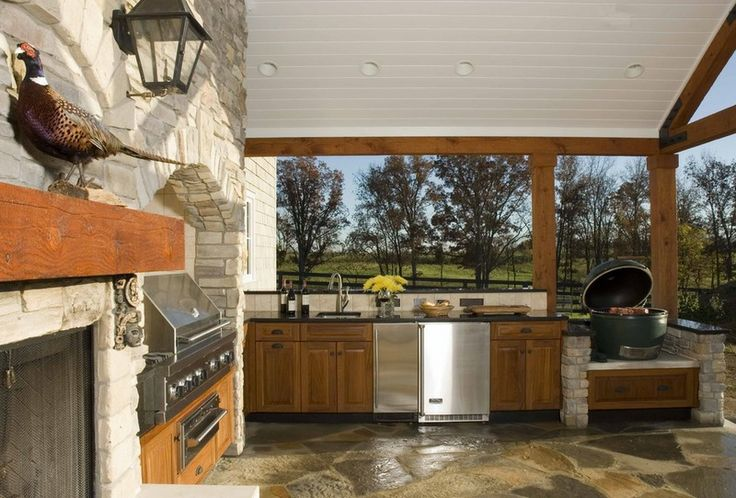 Outdoor kitchen green egg for outside pinterest for Country outdoor kitchen