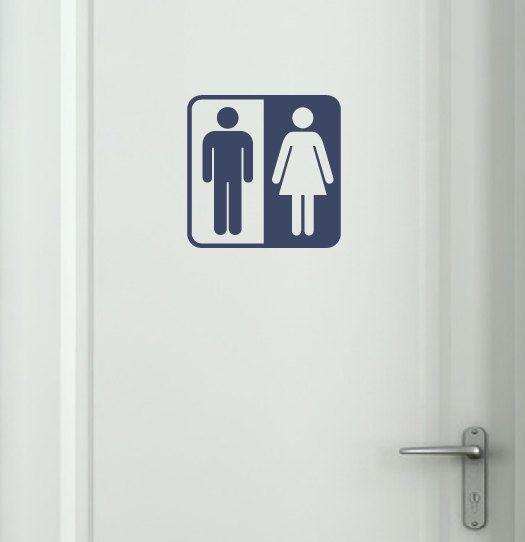 Bathroom Symbol Vinyl Wall Decal By Tweetheartwallart On Etsy