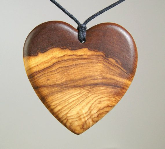 Olive wood pendant wood jewelry heart for How to make a wooden pendant