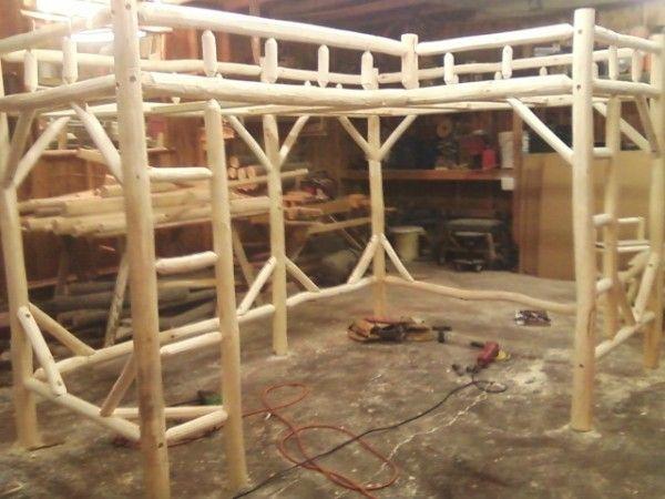 Shaped twin twin log loft bed frame kids pinterest
