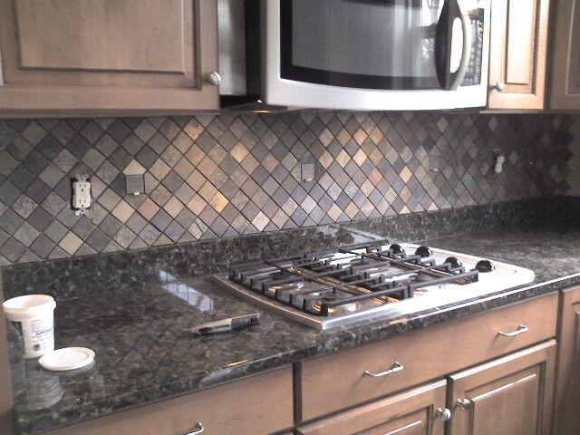 Kitchen backsplash slate tile  For the Home  Pinterest