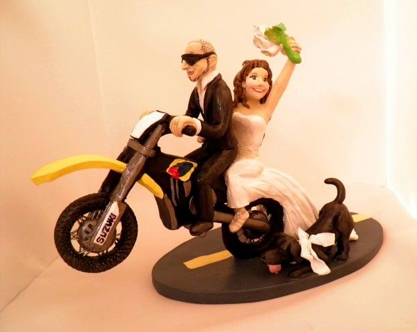Here comes the bride! On her dirt bike!  Custom Wedding Cake Toppers
