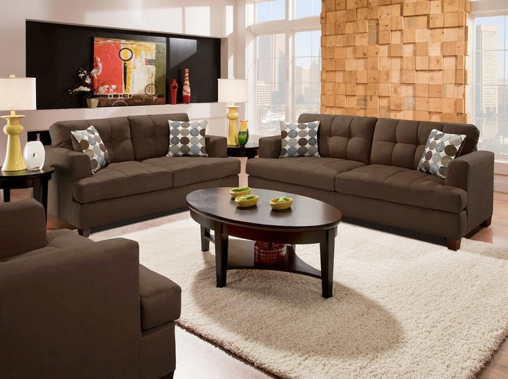 Austins couch potatoes furniture angelika brown living room sofa set