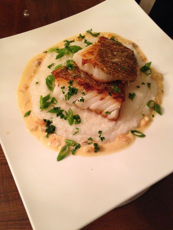 Seared Chilean Sea Bass & Creamy Parmesan Grits.