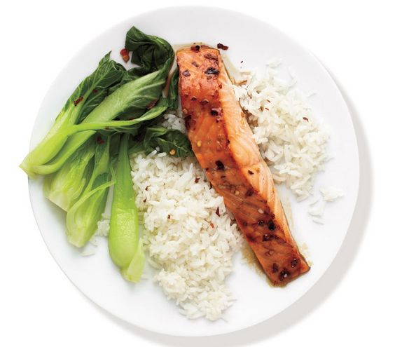 With Bok Choy and Rice Baste the salmon with a mixture of honey, soy ...