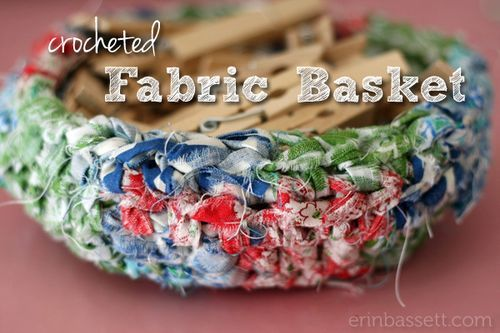 Crochet Fabric Basket using fabric scraps (w/ tutorial)