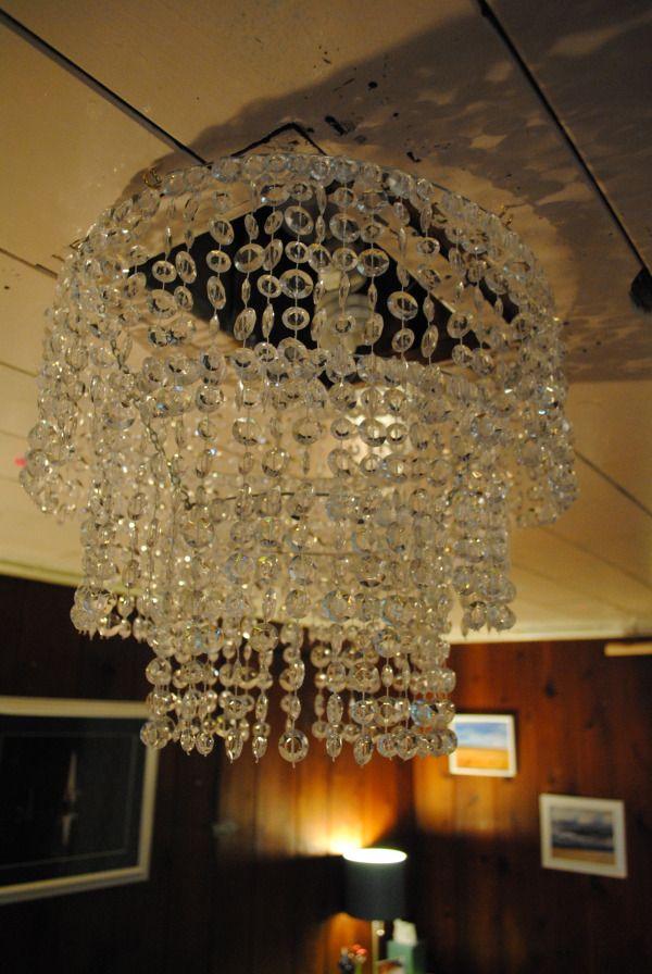 Diy crystal chandelier hummmm lighting pinterest for Diy crystal chandelier lamp