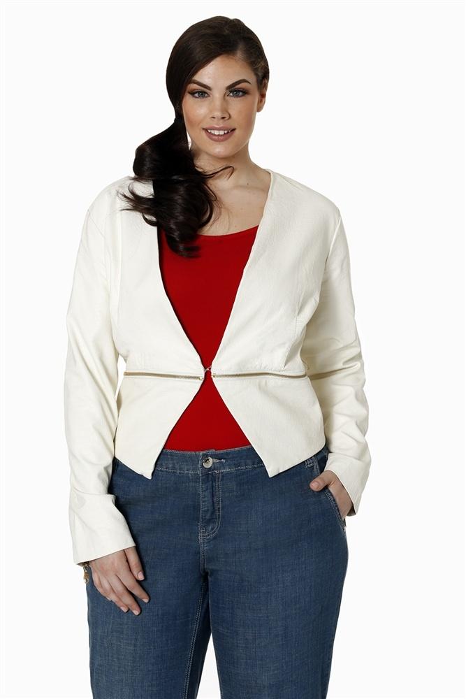Cream Faux Jacket Plus Size