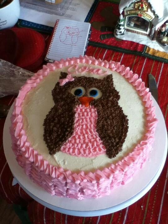Owl cake for JP's baby shower but in blue!! Sweet bites Omaha Ne