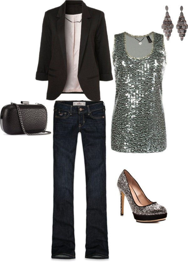"""Cute date night outfit"" by alyson-young on Polyvore I'd wear different shoes since the top is sparkly ,but otherwise super-cute and classy!"