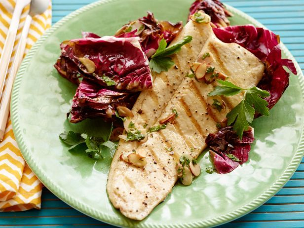 Bobby's Grilled Trout Almondine with Radicchio and Orange-Almond Vinaigrette #GrilledFish #BobbyFlay #GrillingCentral #Seafood