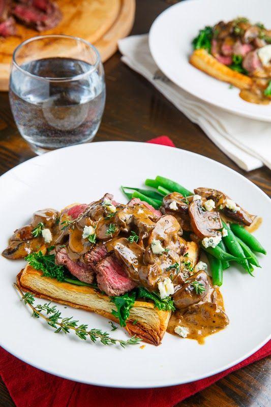 Beef Wellington Tarts with Mushroom Blue Cheese Sauce | Recipe