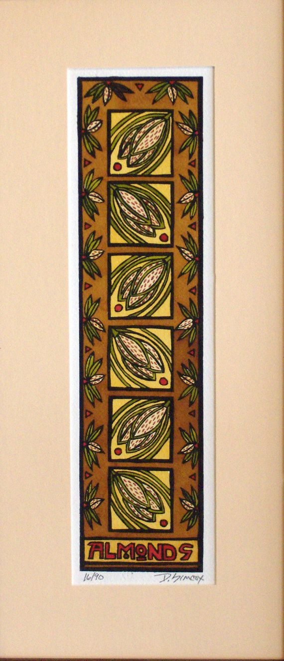 Original Craftsman Style Wall Art Nature Almonds Block Print