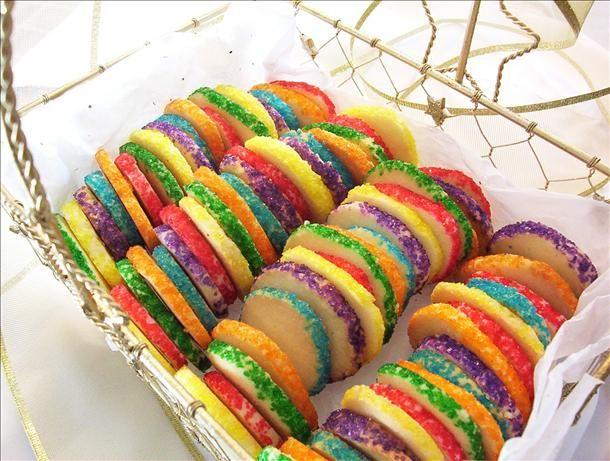 Rainbow freezer sugar cookies (make freezer sugar cookie dough, form ...