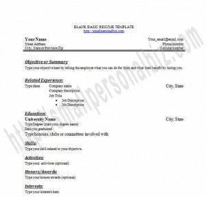 blank resume template microsoft word