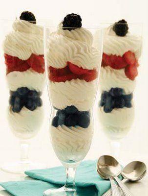 Patriotic White Chocolate Mousse Parfait | Sweet Stuff | Pinterest