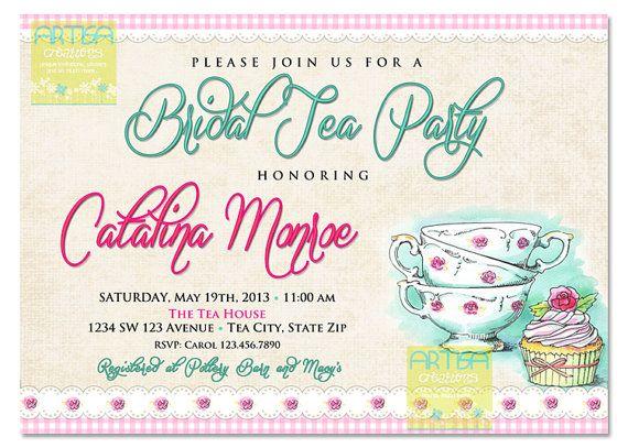 Tea Bridal Shower Invitation Afternoon Tea by artisacreations, $12.00