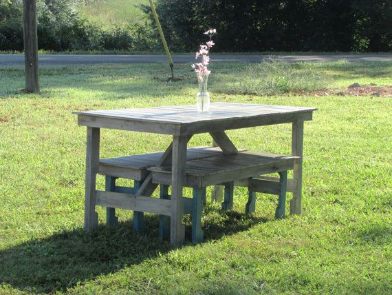 Picnic table and bench set kitchen table rustic for Whitewash kitchen table
