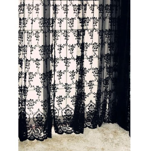 "... "" Black Sexy Rich Vintage French Lace Window Curtain Drape Panel Veil"