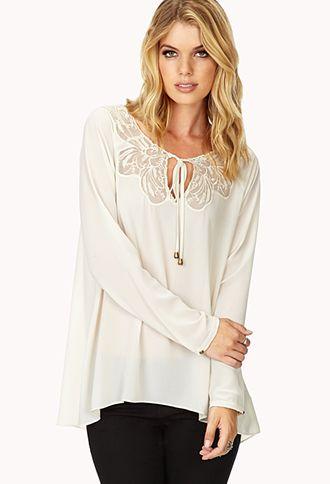 White Sailor Blouse With Lace Trim 31