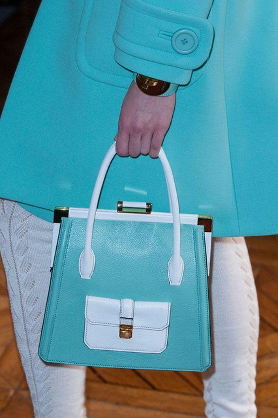 Tiffany Blue at Miu Miu Handbag Spring 2014.
