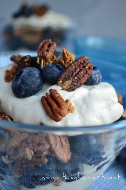 Blueberry and Maple-Pecan Granola Parfaits-can use any fruit