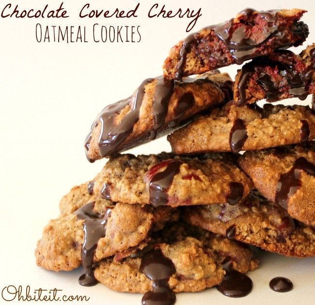 Chocolate Covered Cherry Oatmeal Cookies! | Oh Bite It