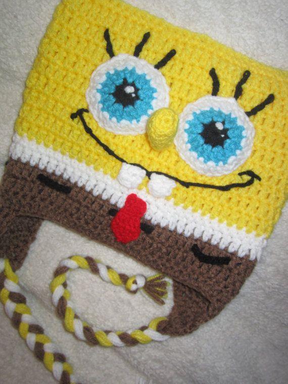 Free Crochet Pattern Spongebob Hat : Spongebob Squarepants Inspired Crochet Beanie Hat Boy ...