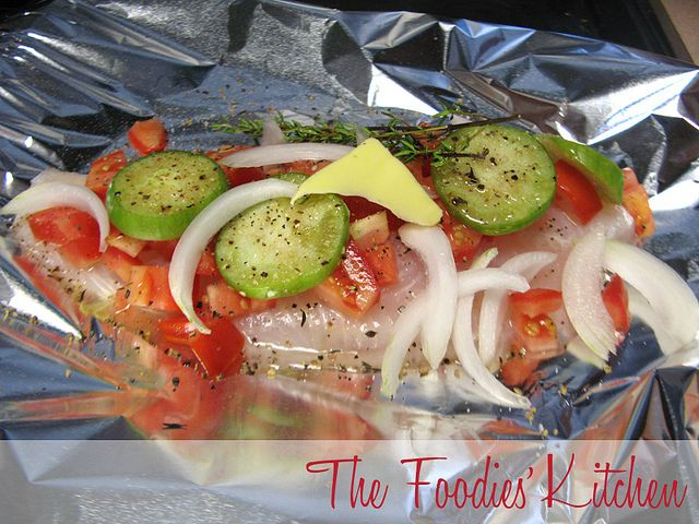 Baked Fish, Spinach, And Tomatoes In Foil Packets Recipe — Dishmaps