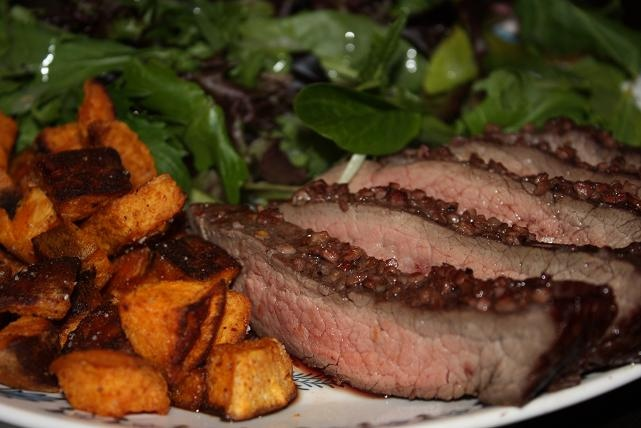 Flank steak with arugula salad and sweet potato fries--and homemade ...