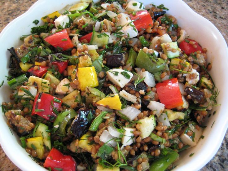 Grilled Veggies and Wheat Berry Salad.... never had wheat berries ...