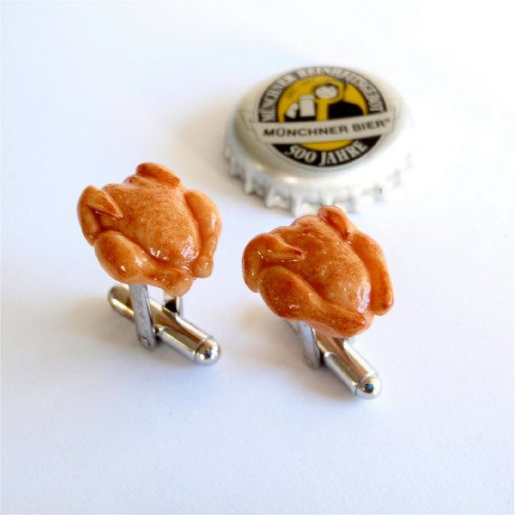 Roast Chicken Cufflinks specially created by Schickie Mickie for Oktoberfest! One thing you shouldn't miss apart from having a beer, is having a roast chicken or duck at the #Oktoberfest.