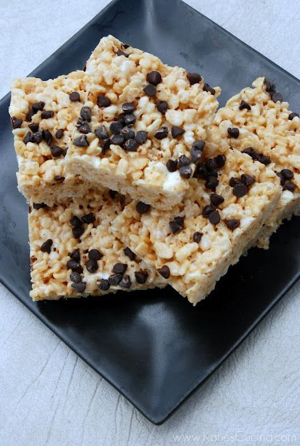 Peanut Butter Chocolate Chip Rice Krispies Treats - Katie's Cucina ...