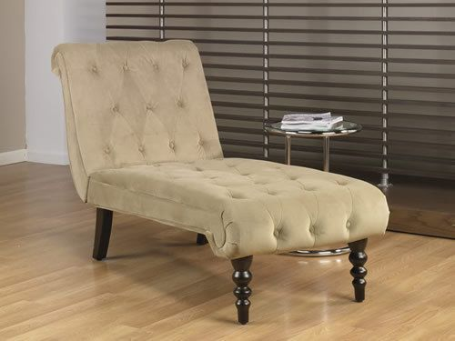 Avenue six coffee fabric tufted top curved leg chaise for Avenue six curves tufted chaise lounge