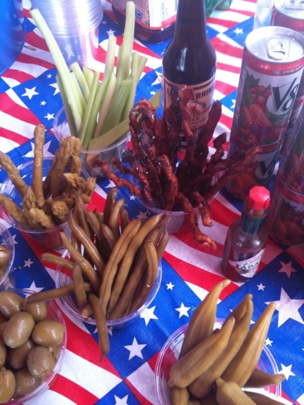 Bloody Mary Bar with Candied Bacon Swizzle Sticks. Perfect!