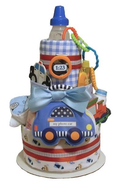 All Diaper Cakes - Car Themed 3 Tier Diaper Cake, $99.95 (http://alldiapercakes.com/car-themed-3-tier-diaper-cake/)