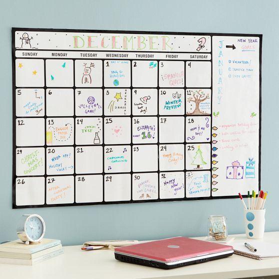 Calendar Whiteboard Ideas : Dry erase calendar decal