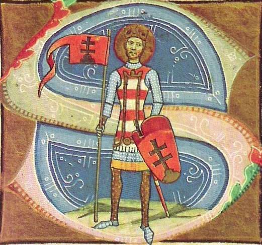 St Stephen depicted in a miniature in the Hungarian Képes Krónika (Chronicon Pictum: before 1360):