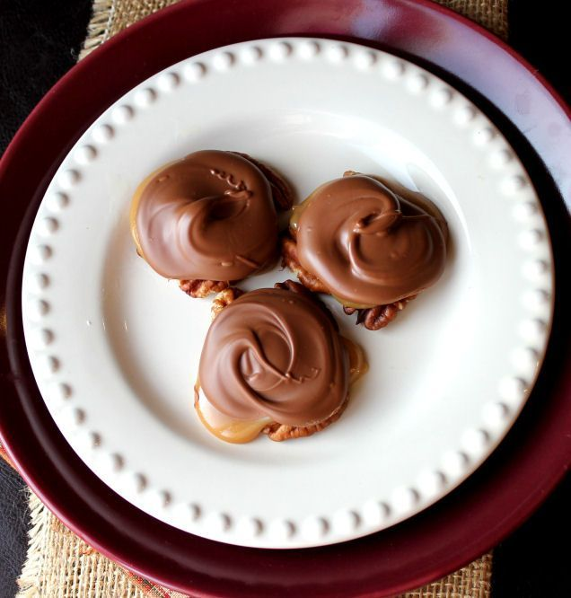 Chocolate Caramel and Pecan Turtle Clusters from Jamie Cooks It Up!