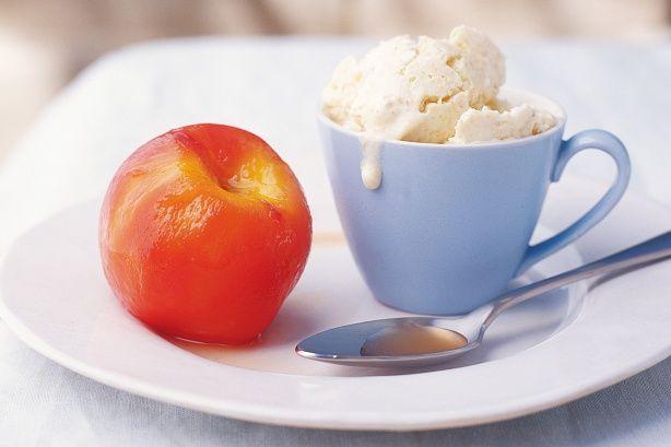 Peaches in frangelico with semifreddo. #recipes #food #ice_cream # ...