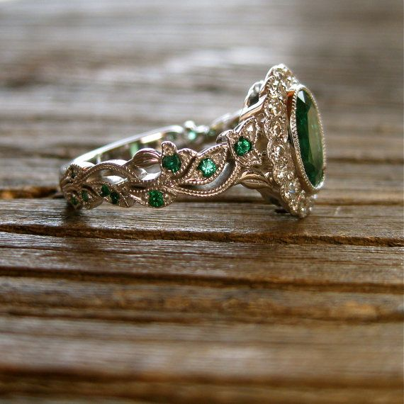 Oval Cut Green Emerald Engagement Ring in 14K White Gold with Leaf Vi…
