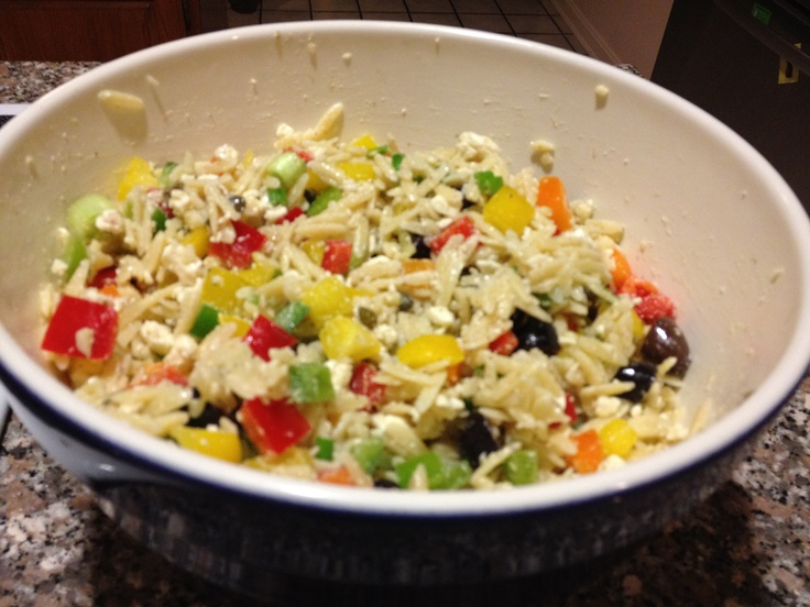 Orzo salad with feta, olives, and bell peppers - Love this! All my ...