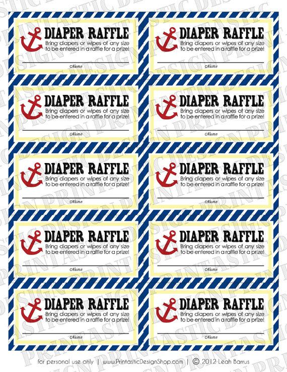 NAUTICAL Diaper Raffle Printable Ticket -any guest who brings diapers ...