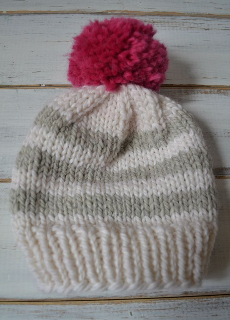 Easy baby knitted beanie pattern. Knit Pinterest