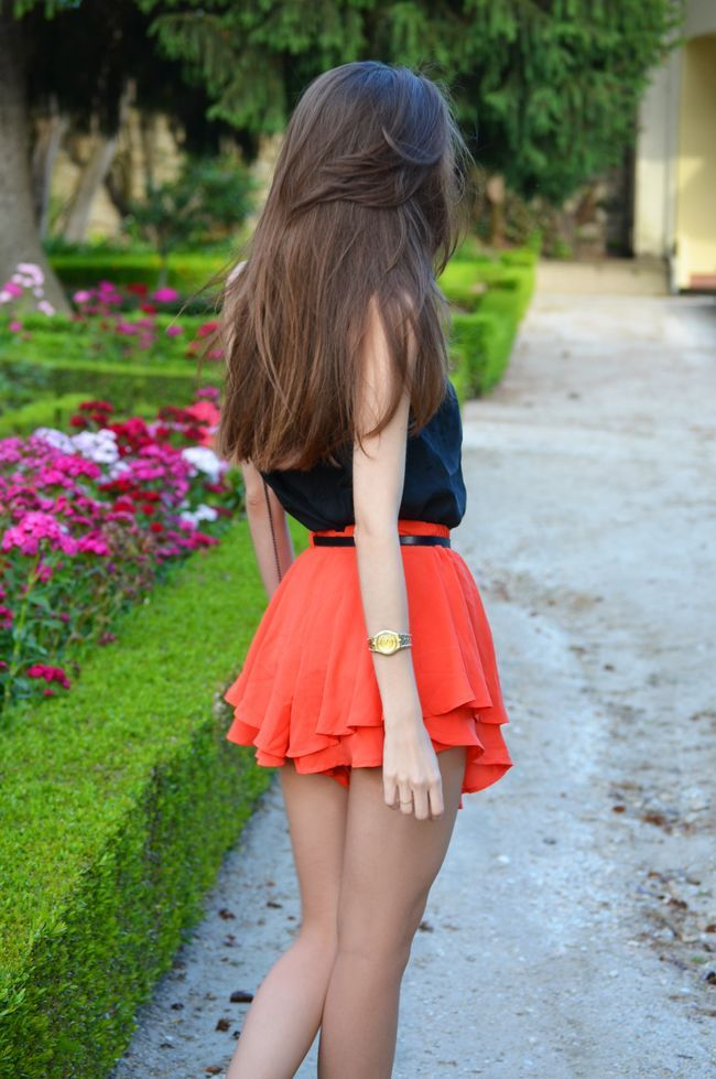 Navy Blouse & Orange Mini Skirt