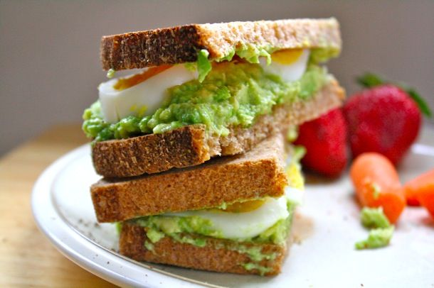 Avocado and hard boiled egg sandwich...use sprouted grain bread