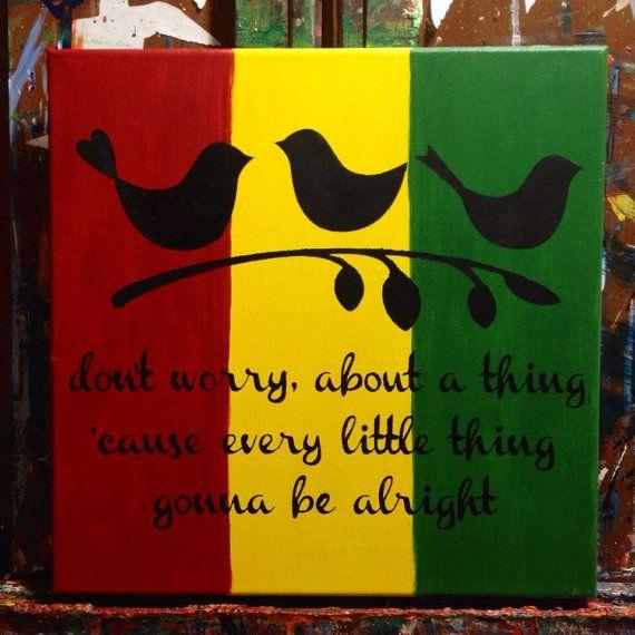 bob marley three little birds 12x12 acrylic on canvas