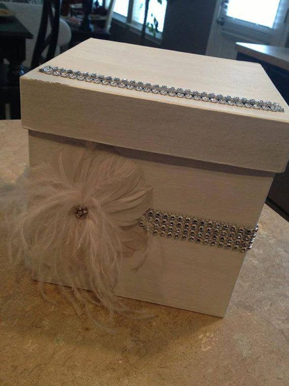 Elegant Wedding Gift Card Box : Elegant bling and feather Wedding Gift Card Box on Etsy, USD45.00