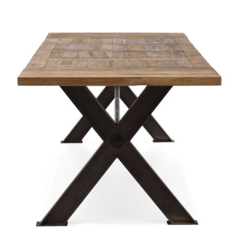 Iron Wood Dining Table Industrial Reclaimed Vintage Antique Metal Rus